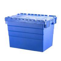 Caixa plástica encaixável 600x400x416mm - tampa articulada de 2 partes