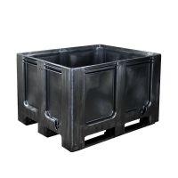 Contentor-palete de plástico reciclado1200x1000x760mm - 3 patins, paredes e fundo fechado