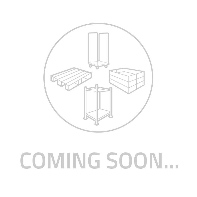 Caixa Encaixável 600x400x400mm de empilhamento rotativo - paredes de fundo e laterais fechadas que têm duas pegas