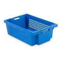 Caixa de plástico 600x400x200mm, encaixável e empilhável por rotação 180º - paredes e fundoperfurados e, aberturas nas pegas