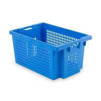 Caixa de plástico 600x400x300mm, encaixável e empilhável por rotação 180º - paredes e fundoperfurados e, aberturas nas pegas